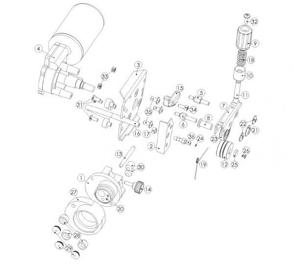 MERKLE DV-21 2 görgős előtoló rendszer - alkatrészrajz