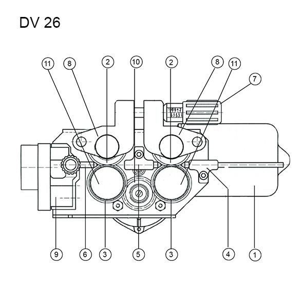MERKLE 4-görgős(DV-26) precíziós előtolóegység - alkatrészrajz