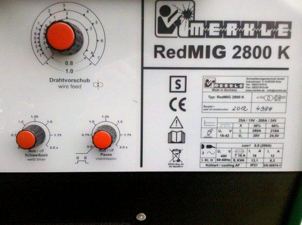 MERKLE RedMIG 2800 K vezérlőpanel