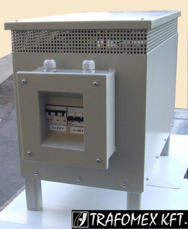 TRAFOMEX Kft. - 3 fázisú 5 kVA-os transzformátor tokozásban védelemmel ellátva